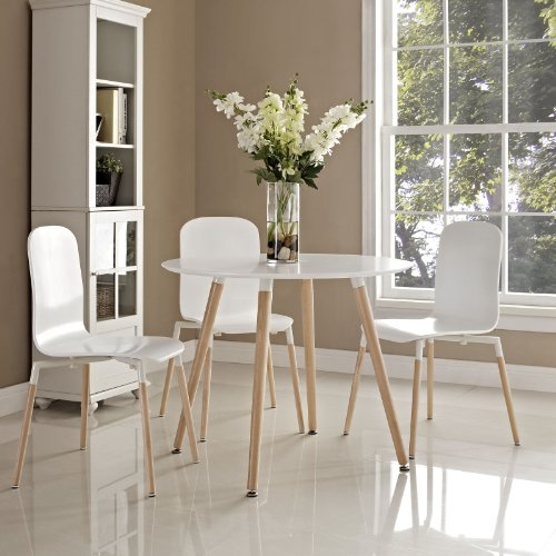 Modway Track 36 Contemporary Modern Round Kitchen and Dining Room Table in White