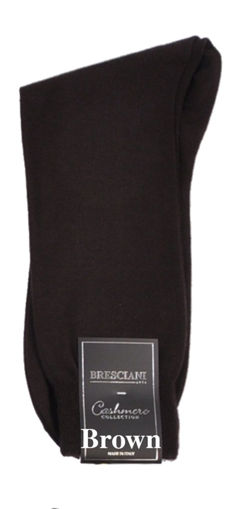 Bresciani Men's 100% Pure Cashmere Crew Dress Socks-1 Pair Brown