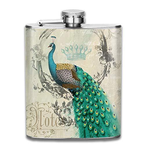Laki-co Peacock Art Animal Art Hip Flask for Liquor Stainless Steel Bottle Alcohol 7oz -