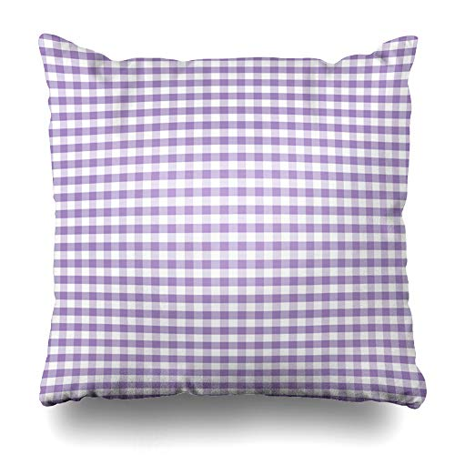 Ahawoso Throw Pillow Cover Pillowcase Pale Purple Pattern Gingham Check Pastel Lavender Classic Abstract Checkerboard Violet Baby Block Home Decor Design Square Size 18