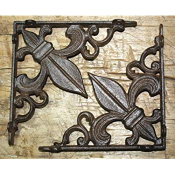 Set of 2 Cast Iron Garden Braces Rustic Antique Style Decorative Shelf Brackets