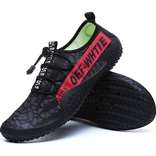 Holes Water Mens Shoes Sneakers FEETICITY with Swim Red Quick Dry Drainage Outdoor Non Black Beach Water Slip qH6H5nE