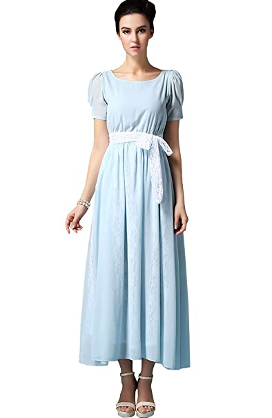 Sheicon Womens Short Sleeve Square Neck Long Maxi Fit And Flare Chiffon Lace Dress