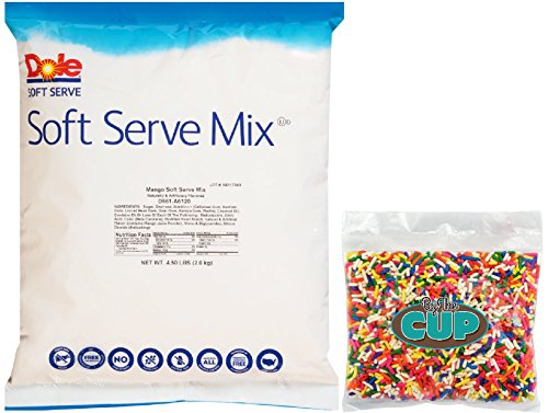 Dole Soft Serve Mix - Mango Dole Whip, Lactose-Free Soft Serve Ice Cream Mix, 4.50 Pound Bag - with By The Cup Rainbow Sprinkles by By The Cup