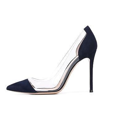 09f63a73b76 DYF Women Nude Shoes Sharp Fine High heel Transparent Office, 10 cm ...
