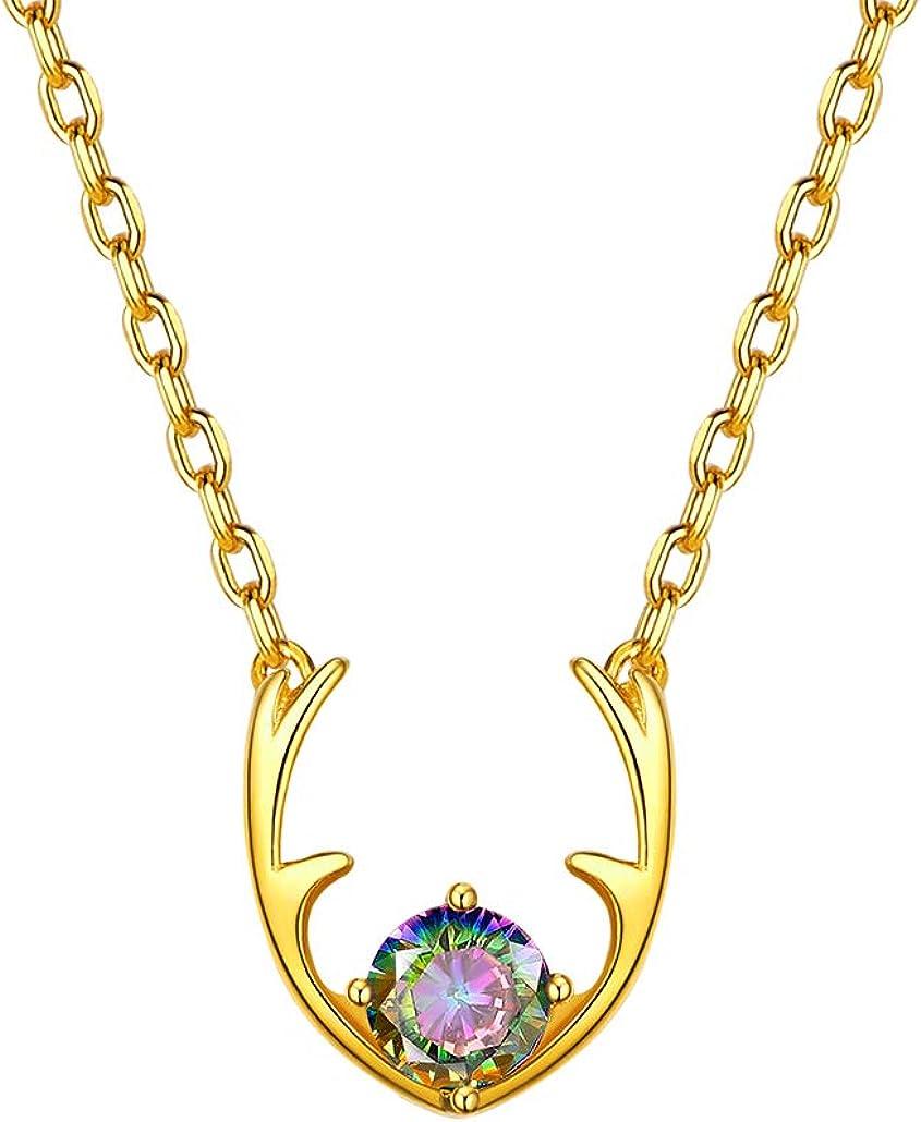 Silvora Color Oro Colgante Corazón Collar Base Plata de Ley 925 con baño de Oro Cuerno de Ciervo Piedra Preciosa Regalo Agradable a Hija Madre Hermana Mujer