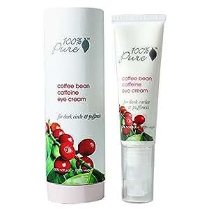 100% Pure: Organic Coffee Bean Caffeine Eye Cream, 1 oz, Anti-Inflammatory, Brightens Dark Circles, Concentrated with Potent Anti-Aging Vitamins, Antioxidants, and Nourishing Rosehip Oil