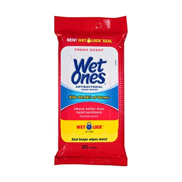 Wet Ones Antibacterial Hand Wipes 20 Count Pack Of 10