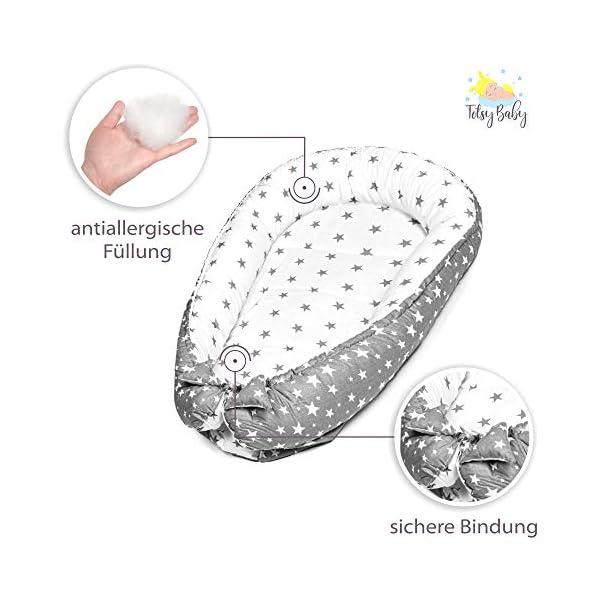 riduttore culla - riduttori lettini neonato antisoffoco double face, cotone con certificato oeko-tex (grigio e bianco… 3