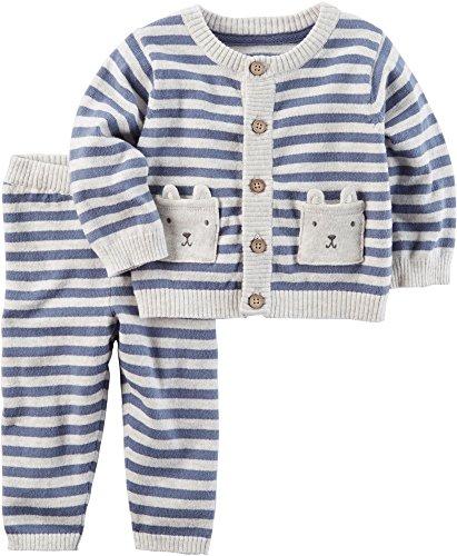 Carter's Baby Boys' 2 Piece Striped Little Sweater Set 6 (2 Piece Cotton Sweater)