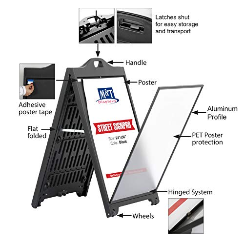Street SignPro Poster with Protective Cover, A-Frame Sidewalk Curb Sign, Folding Portable Double Sided Advertising Display (24x36 with Lens, Black) by M&T Displays (Image #2)