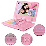 ZESTYI 9' Portable DVD Player for Kids with Car Headrest Mount Holder, Rechargeable Battery, Wall Charger, Car Charger, SD Card Slot, USB Port & Swivel Screen (Pink)