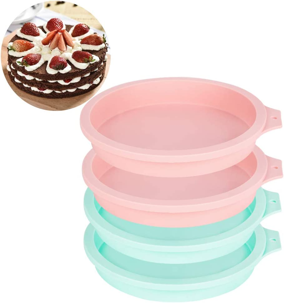 Baking Mold DIY Rainbow Cakes Non-Stick Silicone 6-Inch Silicone Round Cake Pan Baking Mold Pack of 4