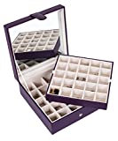 Internet's Best Faux Leather Grid Jewelry Box | 2 Tier 25 Slot Jewelry Trays for Rings, Earings, Small Bracelets & Necklaces | Purple