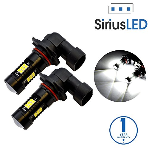 SiriusLED Extremely Bright 35W 2835 Chipset 21 SMD LED Bulbs with Projector for Car Fog Lights Daytime Running DRL 9006 HB4 Pure White