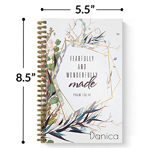 """Wonderfully Made Personalized Notebook/Journal, Laminated Soft Cover, 120 College Ruled or Checklist pages, lay flat wire-o spiral. Pick your size, 8.5"""" x 11"""", 5.5"""" x 8.5"""". Made in the USA Photo #3"""