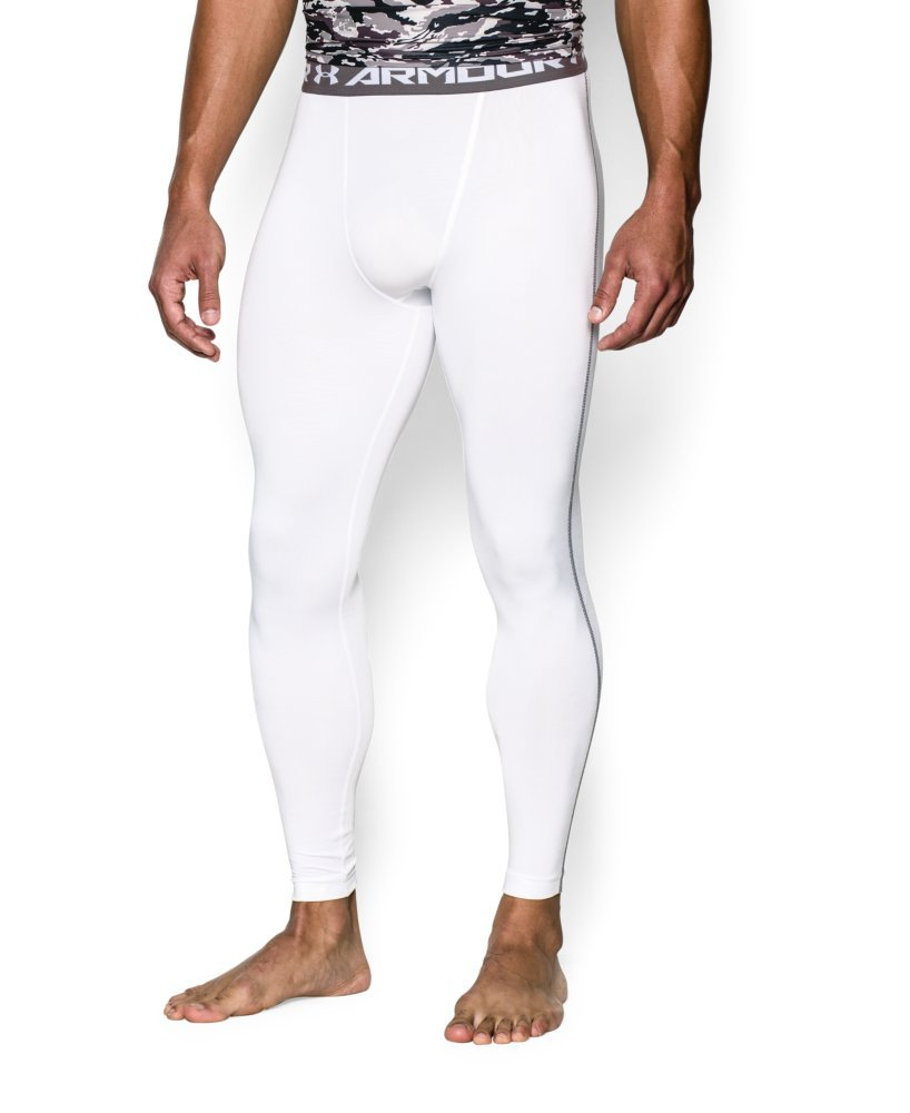 Under Armour Men's HeatGear Armour Compression Leggings, White /Graphite, Large by Under Armour (Image #3)