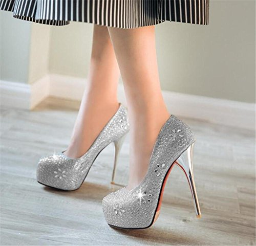 Da Club A Glitter 40 Décolleté Con 35 Strass Tacco Scarpe Stiletto Silver Donna Party Spillo RqwBgag