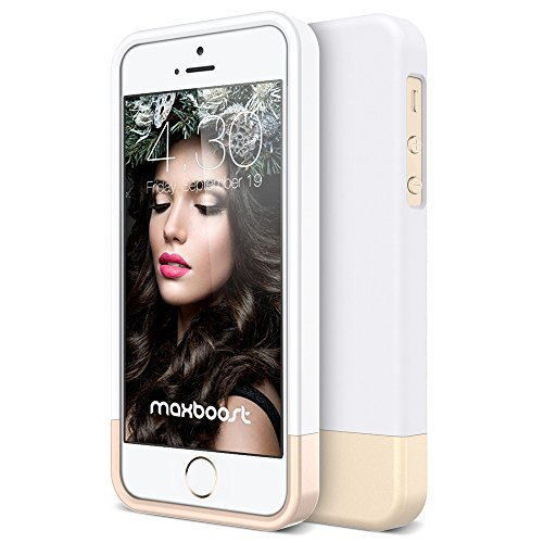 iPhone 5S Case, Maxboost [Vibrance Series] for Apple iPhone 5S / 5 Case Protective Soft-Interior Slider Style Hard Cases Cover - White/Champagne Gold