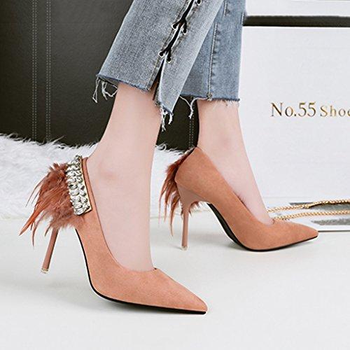 ALUK- Damenschuhe - Europa und die Vereinigten Staaten sexy Schuhe mit hohen Absätzen wies Strass Schuhe 10cm mit Laufsteg Schuhe ( Farbe : Schwarz , größe : 36-Shoes long230mm ) Aprikose