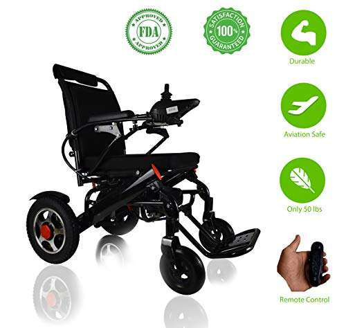 MT Remote Control Electric Wheelchair - Air Travel Alloved, FDA Approved, Power Compact Mobility Aid Lightweight Wheelchair, Folding Motorized Wheelchair for Home and Outdoor use ()
