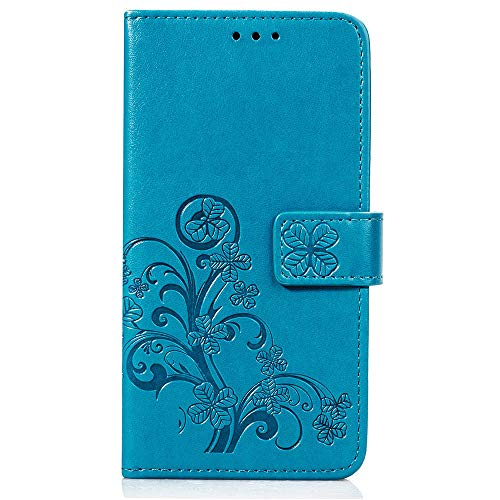 Fantasydao Case for Huawei Nova 3i Magnetic Purse Holster Wrist Strap Wallet Embossed Women Men PU Leather Cover Flip Stand Bumper Card Slot Full Body Protective Shell(blue)