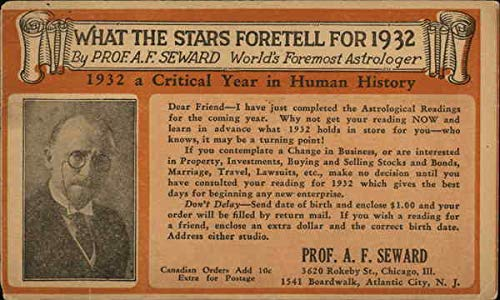 (Vintage Advertising Postcard: What the Stars Foretell for 1932 by Prof. A.F. Seward Advertising)