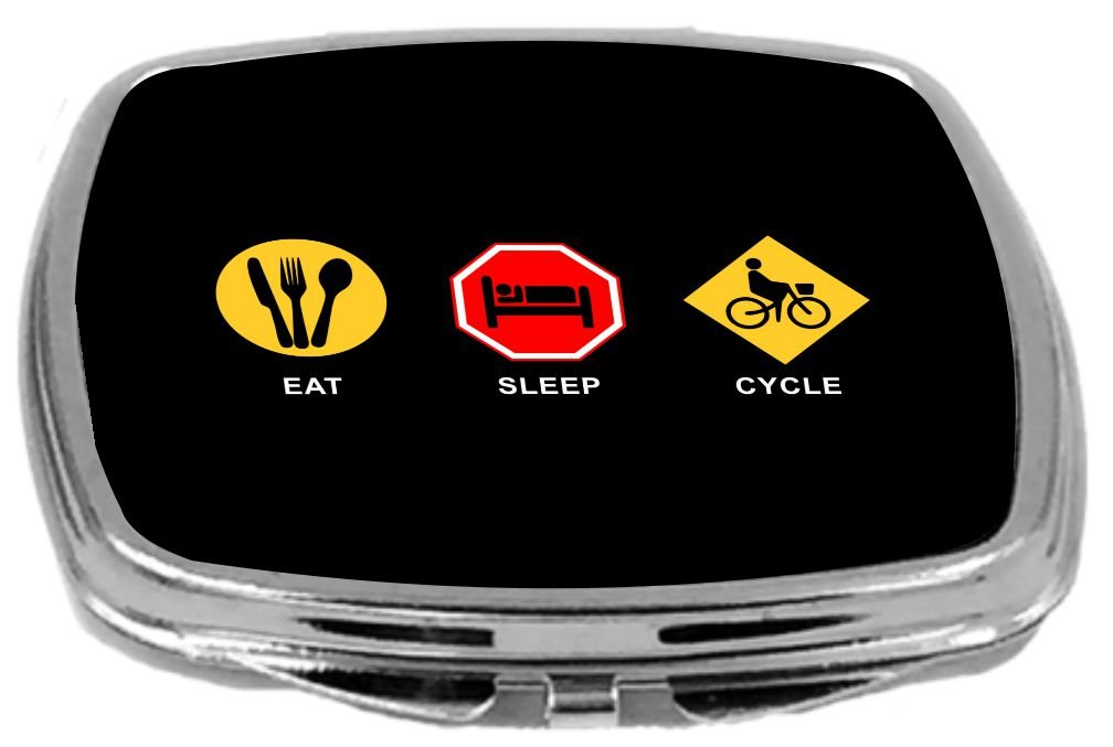 Rikki Knight Compact Mirror, Eat Sleep Cycle Boy, 3 Ounce