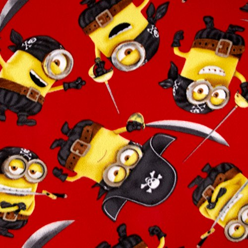 Despicable Me Fleece Pirate Minions Red Fabric by the Yard ()