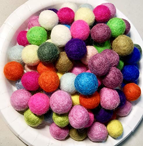 Yarn Place Felt Balls - 100 Pure Wool Beads 20mm Mixed Colorful Mixed Colors