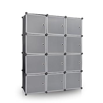 Newdora 12 Cube Multi Use DIY Plastic Wardrobe Portable Closet Organizer,  Bookcase, Storage Cabinet