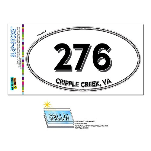Graphics and More Area Code Oval Window Laminated Sticker 276 Virginia VA Abingdon - Glade Spring - Cripple Creek