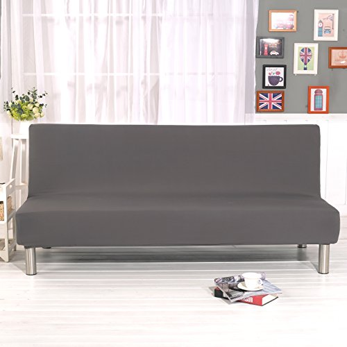 - DIFEN Futon Slipcover Sofa Bed Cover Solid Color Full Folding Elastic Armless 80 x 50 inch, Lightweight Stretch Furniture Protector (Grey:80