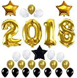 ZOOYOO 2018 Balloons Graduations Decorations 42 Inch with Black & White & Golden Latex Balloon Perfect for Event, Bridal Wedding and Graduations Party Supplies
