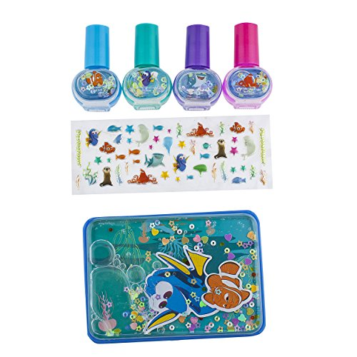 Finding Dory 4 Piece Nail Polish with Nail Stickers and Glitter Case, 56 Count