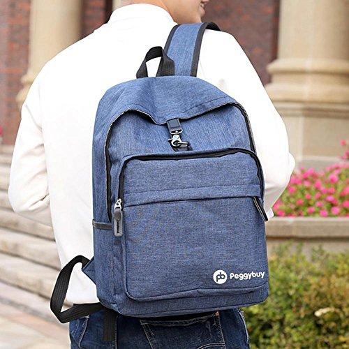 para hombre con PB azul de lona o PEGGYBUY Mochila antirrobo color carga mujer USB wqBaT