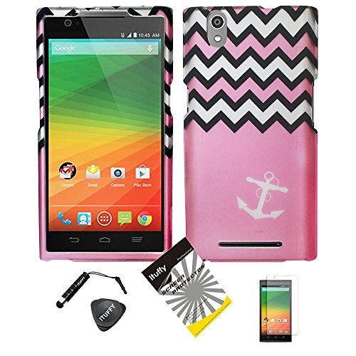 4 Items Combo: ITUFFY (TM) LCD Screen Protector Film + Stylus Pen + Case Opener + Design Rubberized Snap on Hard Shell Cover Faceplate Skin Phone Case for ZTE ZMAX Z970 (5.7 ()