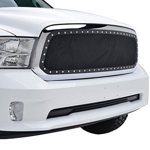 E-Autogrilles Rivet Black Stainless Steel Wire Mesh Front Grille Grill Insert for 13-18 Dodge Ram 1500