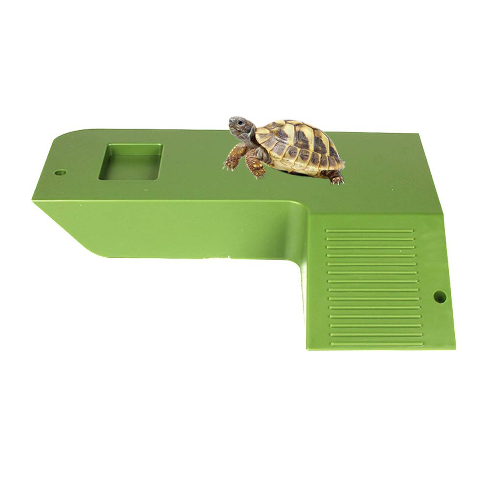 Amakunft Large Size Reptile Tortoise Drying Platform with Stairs & Feeder & Hideout, Large Square Pier Dock HL