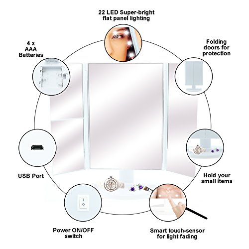 Samyoung Makeup Vanity Mirror with LED Lights,Touch Screen LED Makeup Mirror with 2X/3X Magnification,180︒ Rotation countertop Cosmetic Mirror by Samyoung (Image #2)