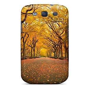 Cute Appearance Cover/tpu QUOoirc3242vDImI Yellow Trees In The Park Case For Galaxy S3
