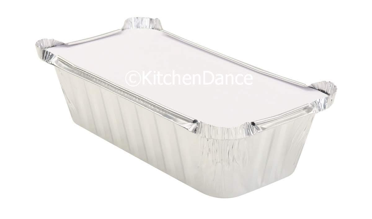 KitchenDance Disposable 2 Pound Closable Loaf Pan w/Colored Lids #1850L (Silver, 125)