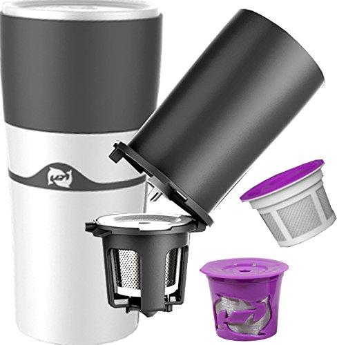 pureblue Brew–KCup taza de viaje & Pour más de cafetera de émbolo–uso K-Cup vainas para sipping-hot porción...