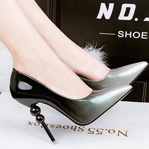 Mesdames Stiletto Haut Talon Pointu Toe Court Shoes Chaussures De Soirée Clubbing Pompes Imperméables à La Bouche Shallow Mouth Sexy Gray NHQani