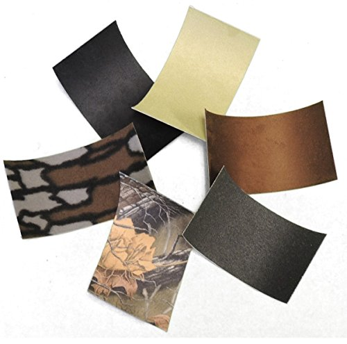 6 Pc. Archery Adhesive Bow Archery Silencing Material Value Assortment Pack ADHESIVE BACKED MOLESKIN MICRO SUEDE FLEECE