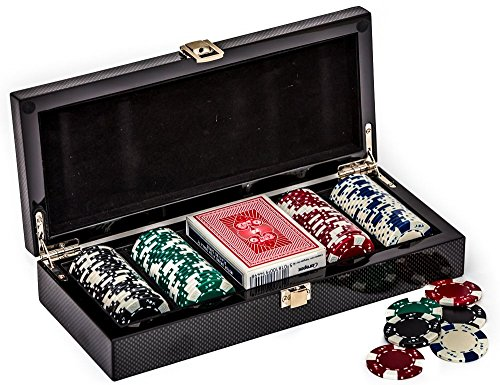 Barclays Center Carbon Fiber Case with Professional Clay Poker Chips by Bello Games New York, Inc.