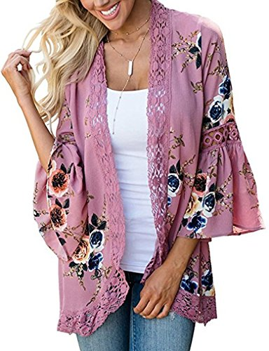 casuress Women's Cardigan-Sheer Kimono Loose Summer Floral Print Cover Ups Pink