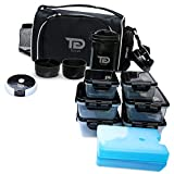 Meal Prep Bag By TO GO Insulated Lunch Meals Bag W/6 Portion Control Containers,2 ICE PACKS, Shaker, Pill Box,With an Adjustable shoulder. bag for meals (Black/new)