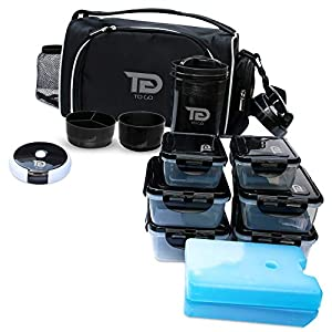 Meal Prep Bag By TO GO Insulated Lunch Meals Bag W/6 Portion Control Containers,2 ICE PACKS, Shaker, Pill Box,With an Adjustable shoulder. bag for meals