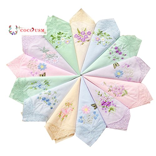 Womens New Colored Embroidered Cotton Handkerchiefs Bulk